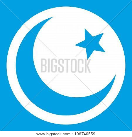 Crescent and star icon white isolated on blue background vector illustration