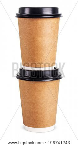 Two disposable coffee cups. Isolated on white background