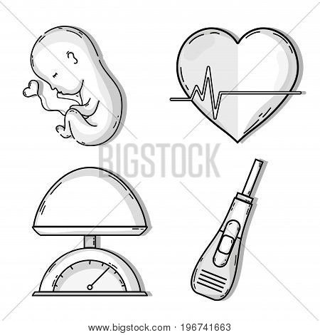 baby with umbilical cord in heart shape vector illustration