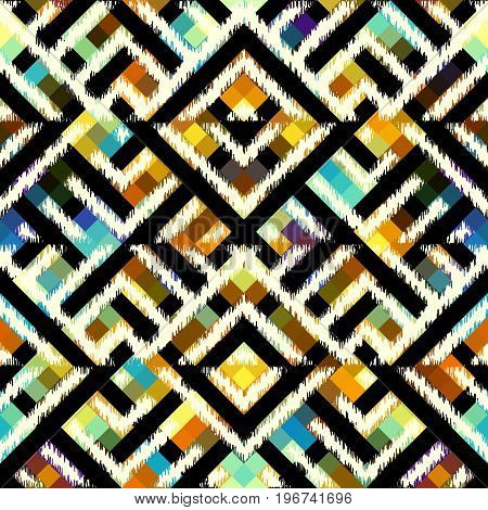 Seamless background. Grunge ethnic geometric lines on a background in low poly pixel art style.