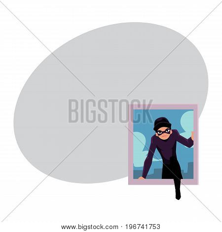 Thief, burglar breaking into house through window, cartoon vector illustration with space for text. Burglar, robber in mask and black suit going to rob a house, climbing in through window