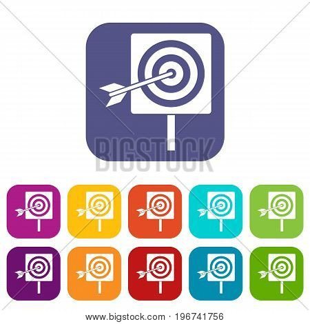 Darts icons set vector illustration in flat style in colors red, blue, green, and other