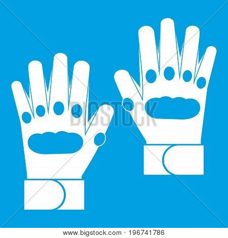 Pair of paintball gloves icon white isolated on blue background vector illustration