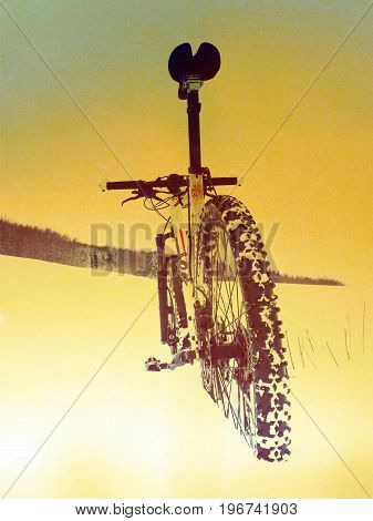Film Effect.mountain Bike Stay In Powder Snow. Lost Path  In Deep Snowdrift. Rear Wheel Detail. Snow