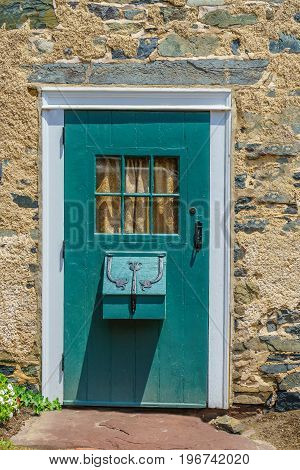 Nice wooden door with window in Historic New Hope PA USA