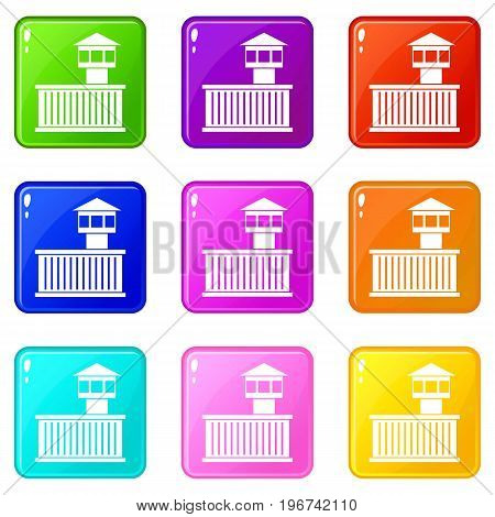 Prison tower icons of 9 color set isolated vector illustration