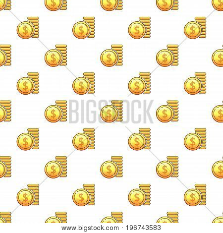 Coins pattern seamless repeat in cartoon style vector illustration