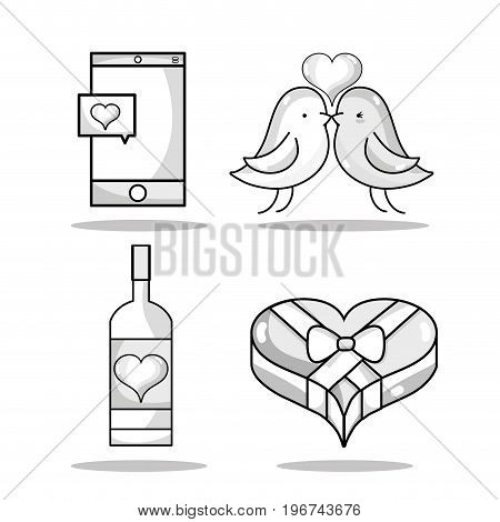 set smartphone with heart and couple dove lover vector illustration