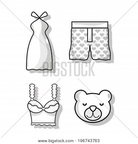 set woman and man clothes design vector illustration
