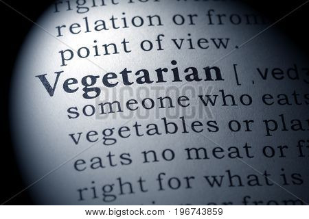 Fake Dictionary Dictionary definition of the word vegetarian.
