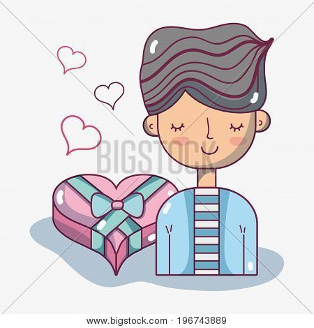 man lover with heart chocolate design vector illustration