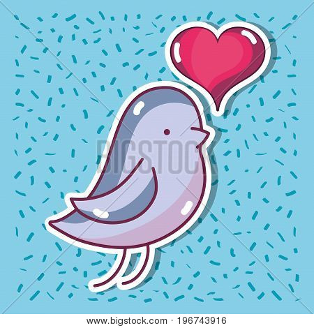 bird dove lover with heart design vector illustration