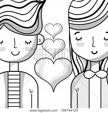 couple lover with hairstyle design and hearts vector illustration