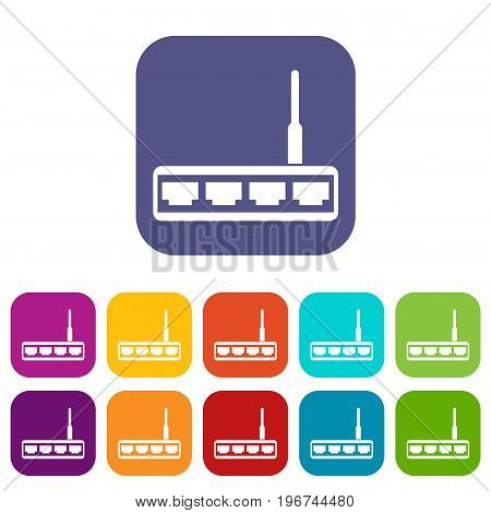 Router icons set vector illustration in flat style in colors red, blue, green, and other