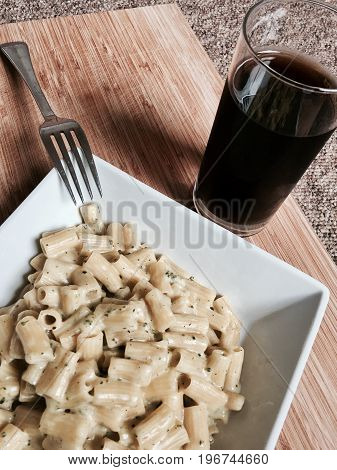 Tasty Pasta And Coke