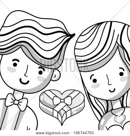 couple lover with heart chocolate vector illustration