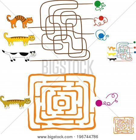 Maze games for preschoolers. Find the way or match elements. Funny kittens and balls of wool. Solutions are included.