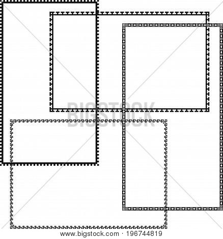 Set of rectangular narrow black simple borders for page decoration, title, card, label.