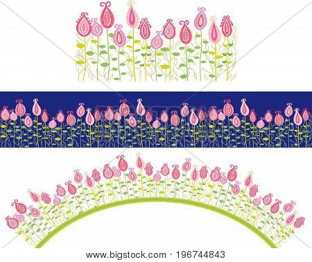 Seamless border of fancy hand drawn flowers. The sample and the pattern brush are included.