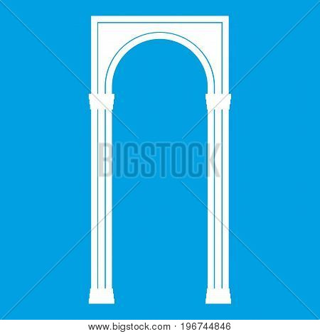 Arch icon white isolated on blue background vector illustration
