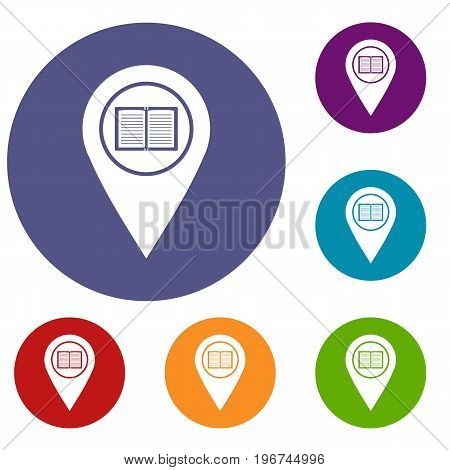 Map pointer with book icons set in flat circle red, blue and green color for web