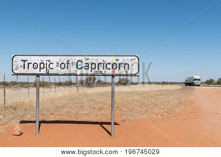 REHOBOTH NAMIBIA - JUNE 14 2017: The Tropic of Capricorn sign board on the B1-road south of Rehoboth