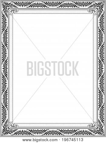 Ornate rectangular black frame for page decoration, title, card, label. Letter page proportions.