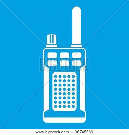 Portable handheld radio icon white isolated on blue background vector illustration