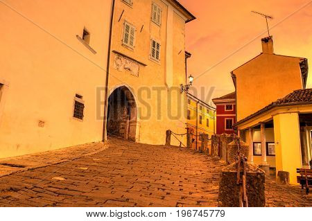 The main Town Gate at sunset in Motovun Istria. Croatia