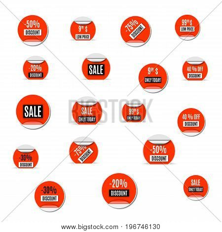 Set of red paper stickers discount and sale isolated on white background. Design elements labels and tags vector illustration.