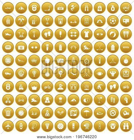 100 active life icons set in gold circle isolated on white vector illustration