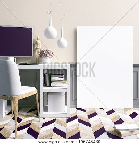 Modern light interior a place for study consisting of working Desk lamp monitor and a poster on the background of light wall. 3D illustration. poster mock up