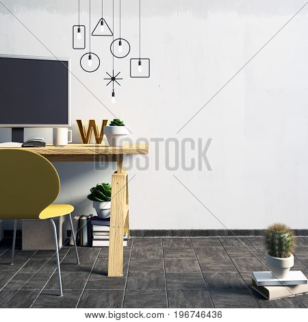 Modern contrast interior in the style loft a place for study consisting of working Desk lamp yellow chair monitor on the background of white wall. 3D illustration. wall mock up
