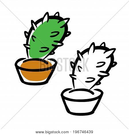Hand vector drawing illustration cartoon cactus -  for a logo or sign