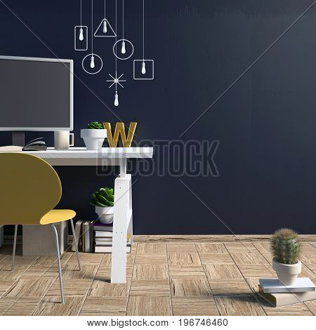 Modern contrast interior in the style loft a place for study consisting of working Desk lamp yellow chair monitor on the background of dark wall. 3D illustration. wall mock up