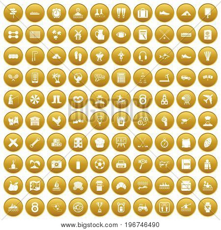 100 activity icons set in gold circle isolated on white vector illustration