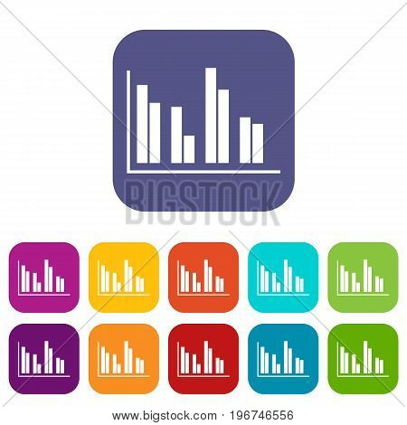 Financial analysis chart icons set vector illustration in flat style in colors red, blue, green, and other