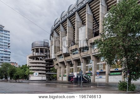 Madrid Spain - June 25 2017: Santiago Bernabeu Stadium. It is the current home stadium of Real Madrid Football Club. Outdoors view