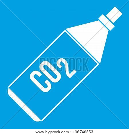 CO2 bottle icon white isolated on blue background vector illustration