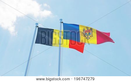 Moldova and Belgium, two flags waving against blue sky. 3d image