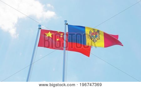 Moldova and China, two flags waving against blue sky. 3d image