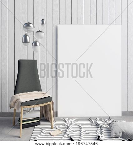 3d illustration modern interior with frame poster and chair. poster mock up