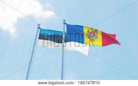 Moldova and Estonia, two flags waving against blue sky. 3d image
