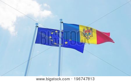 Moldova and European Union, two flags waving against blue sky. 3d image