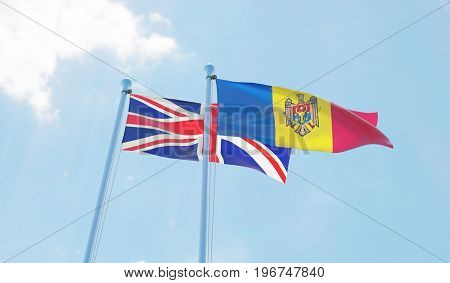 Moldova and Great Britain, two flags waving against blue sky. 3d image
