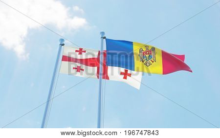Moldova and Georgia, two flags waving against blue sky. 3d image