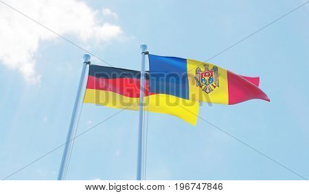 Moldova and Germany, two flags waving against blue sky. 3d image