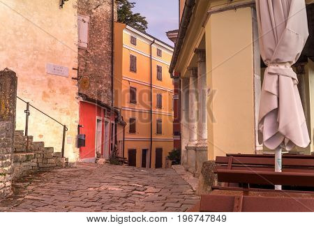 View of Motovun town street at sunset Istria. Croatia
