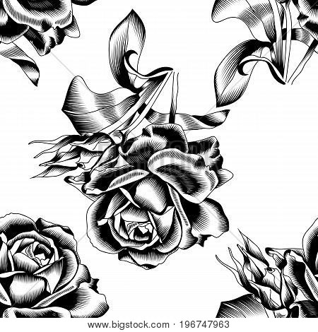 Seamless black roses, fabric black roses, graphic black roses, ink black roses, pattern roses, floral pattern, print pattern, textile pattern. Vector.