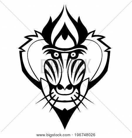 Mandrill head vector stylized tattoo can be used as a mascot or logo